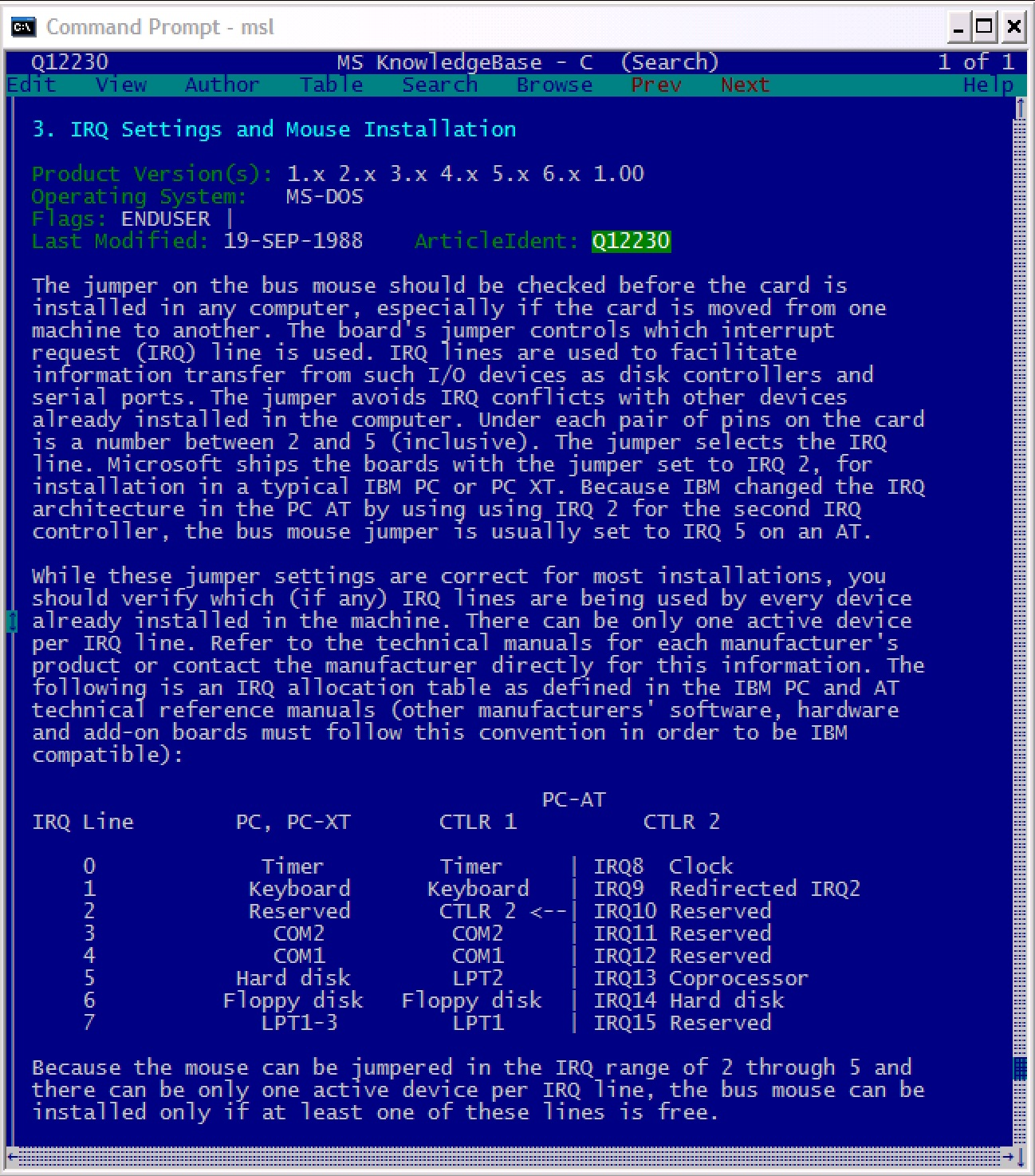 Screenshot of Microsoft Programmer's Library 1.3: Q12230