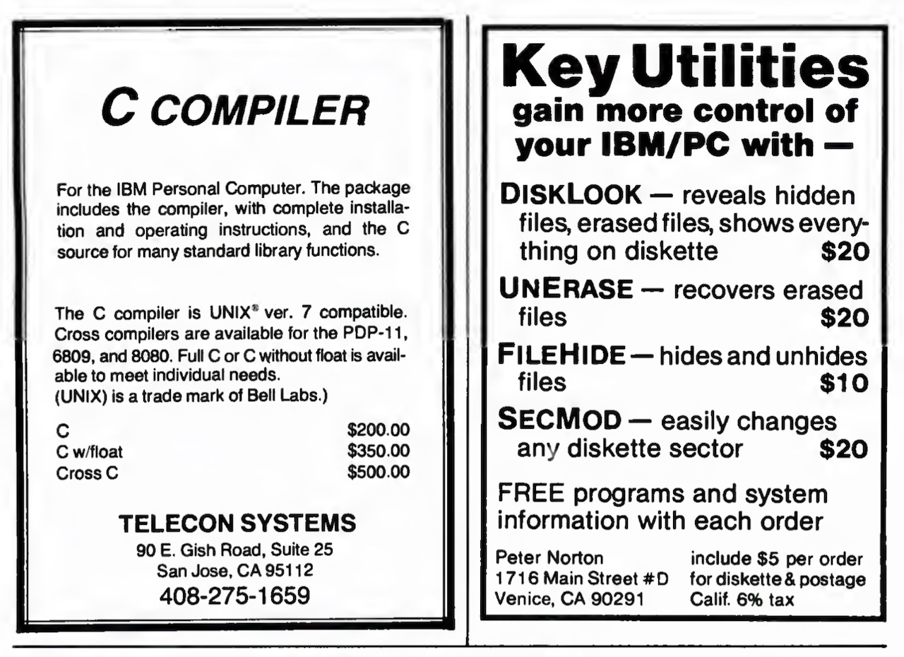 PC Magazine June/July 1982 Norton Utilities Advertisement