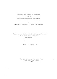 Planning and Coding of Problems for an Electronic Computing Instrument Volume III