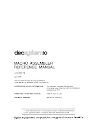 MACRO-10 Assembler Programmer's Reference Manual (Apr 1978)