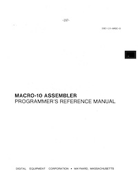 MACRO-10 Assembler Programmer's Reference Manual (Jun 1972)