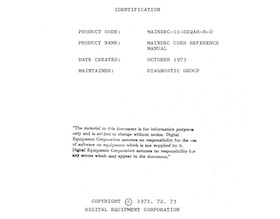 MAINDEC-11-DZQAB MAINDEC USER REFERENCE MANUAL (Oct 1973)