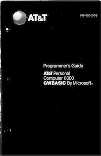 AT&T 6300 GWBASIC Programmer's Guide (1985)