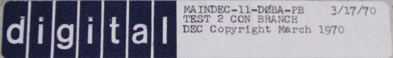 MAINDEC-11-D0BA-PB (MAR/70): TEST 2 - CON BRANCH