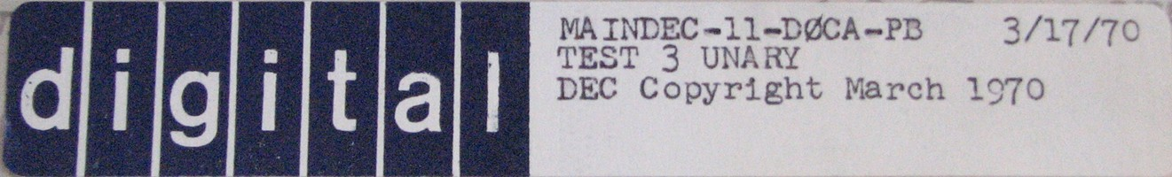 MAINDEC-11-D0CA-PB (MAR/70): TEST 3 - UNARY