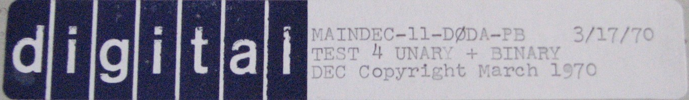 MAINDEC-11-D0DA-PB (MAR/70): TEST 4 - UNARY + BINARY