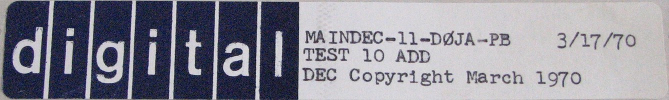 MAINDEC-11-D0JA-PB (MAR/70): TEST 10 - ADD