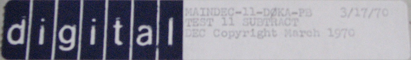 MAINDEC-11-D0KA-PB (MAR/70): TEST 11 - SUBTRACT