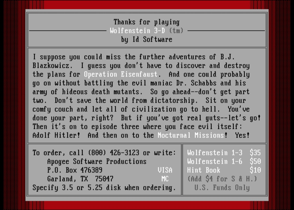 Wolfenstein 3D 1.4 Closing Screenshot
